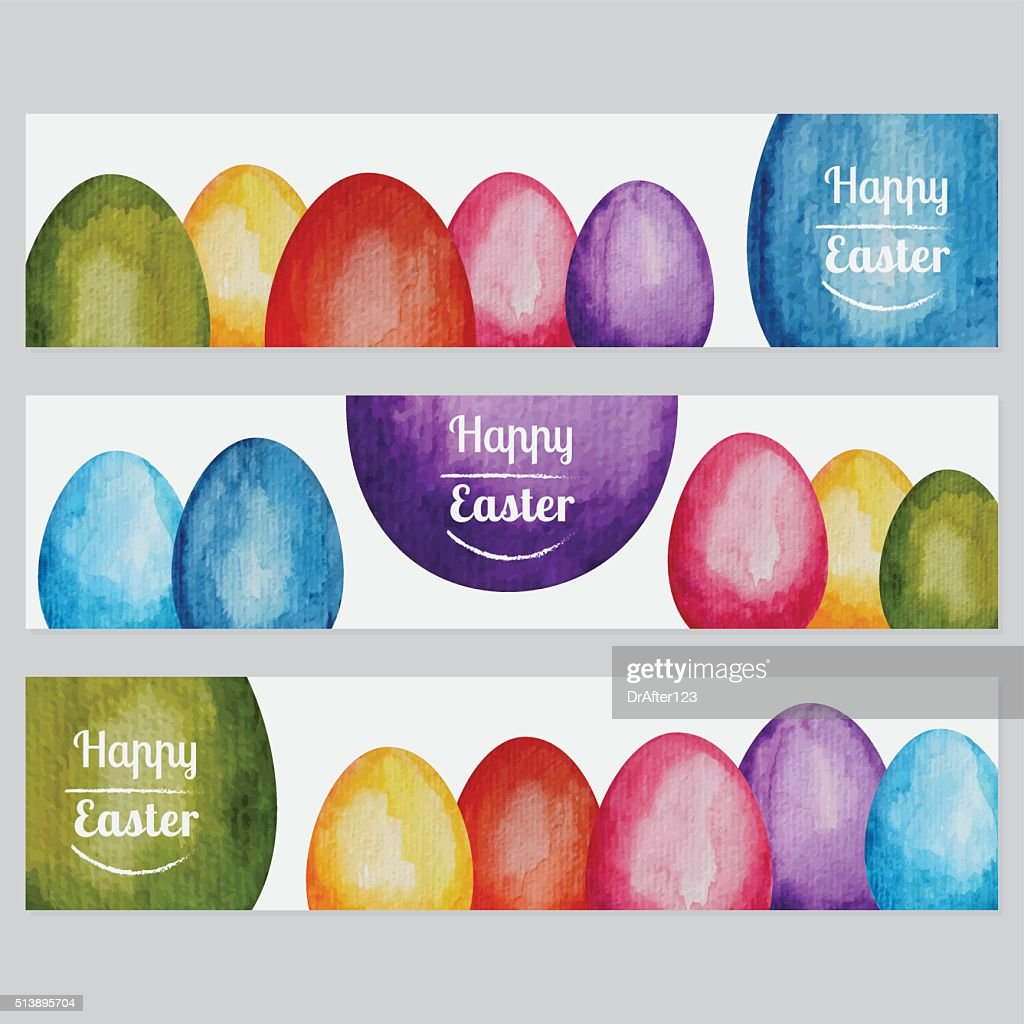 Vibrant Hand Painted Watercolor Easter Banners : Vector Art