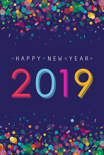 Vibrant New Year 2019 Greeting Card - gettyimageskorea