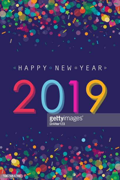 illustrazioni stock, clip art, cartoni animati e icone di tendenza di vibrant new year 2019 greeting card - festeggiamento