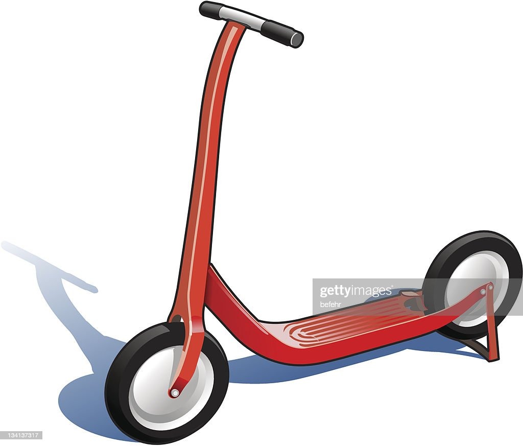 A vibrant red two wheeled scooter