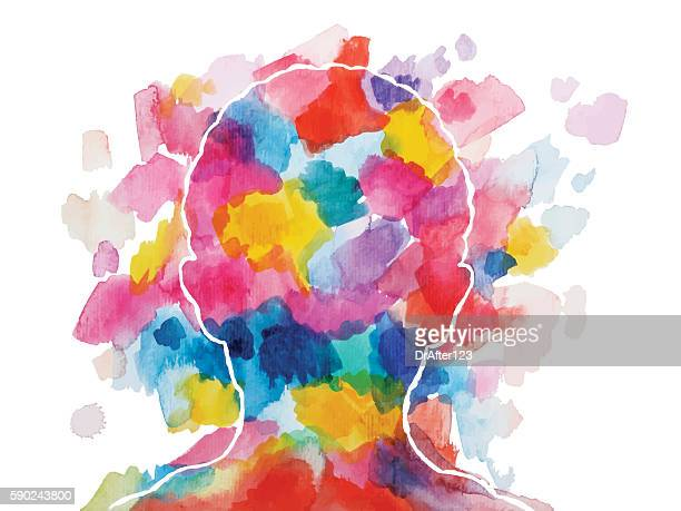 vibrant watercolor child  head - emotion stock illustrations