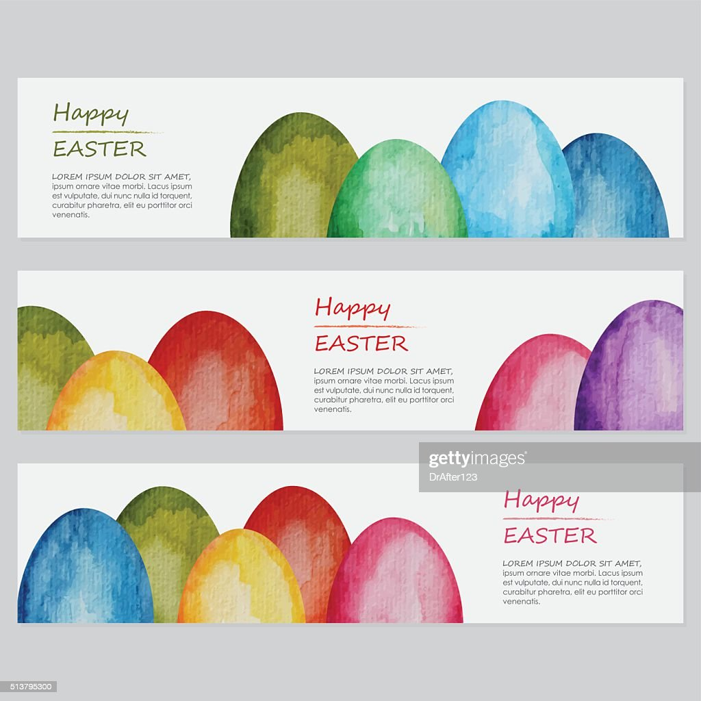 Vibrant Watercolor Easter Banners Templates Vector Art | Getty Images