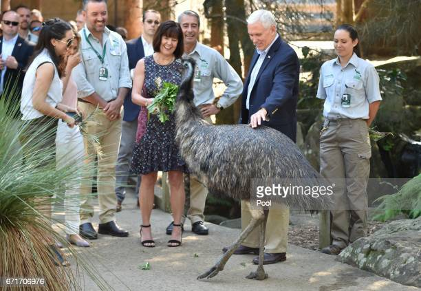 S Vice President Mike Pence and his wife Karen and children Audrey and Charlotte look at an Emu on a visit Taronga Park Zoo on April 23 2017 in...