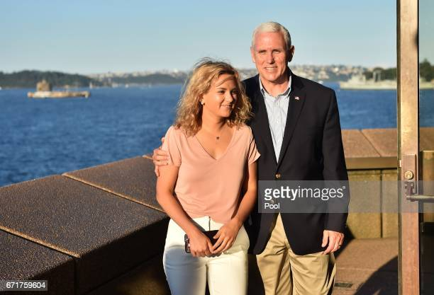 S Vice President Mike Pence visits the Opera House with his daughter Charlotte on April 23 2017 in Sydney Australia Pence is visiting Australia on a...