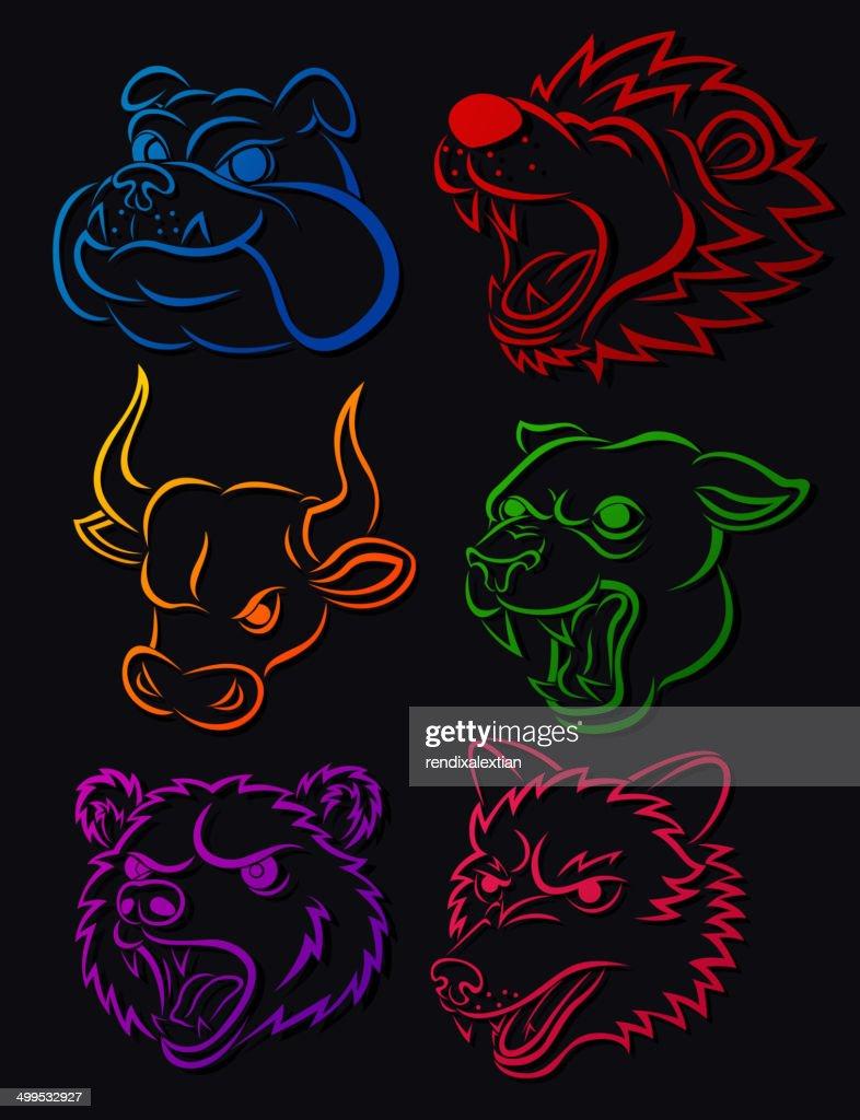 Vicious Wild Animal Head Tattoo Set