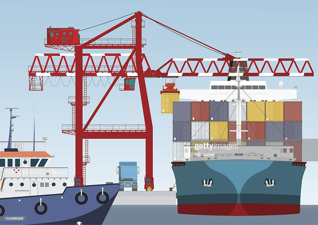 Victor illustration of a container ship arriving at a port