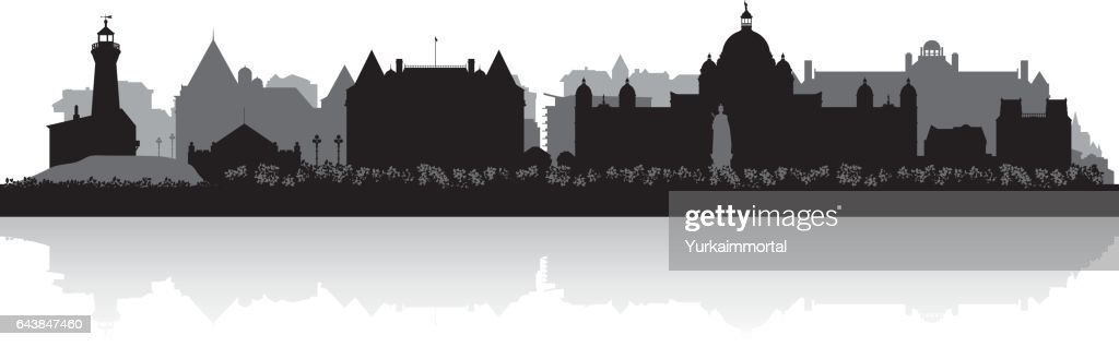 Victoria British Columbia Canada city skyline silhouette