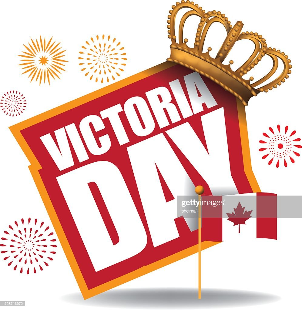 Victoria Day icon with Canada flag and crown.