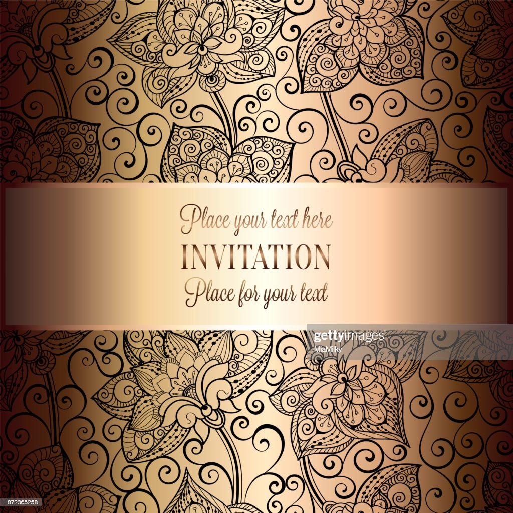 Victorian Background With Antique Luxury Black And Gold Vintage