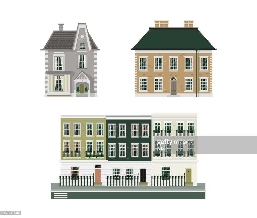 Victorian buildings set of three
