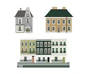 Victorian buildings set of three