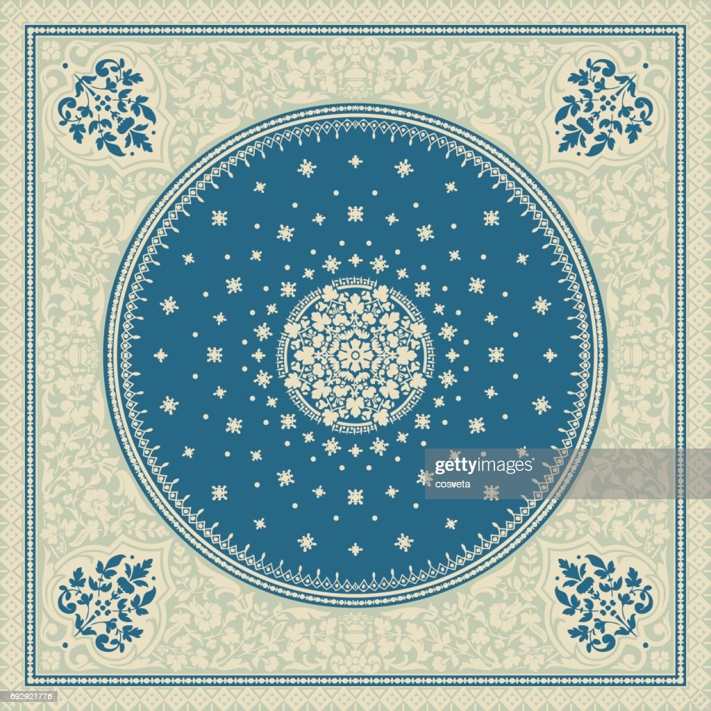 Victorian floral paisley medallion ornamental rug vector. Ethnic mandala towel frame. Vintage flower tile. Textile, greeting business card, coloring book, phone case print