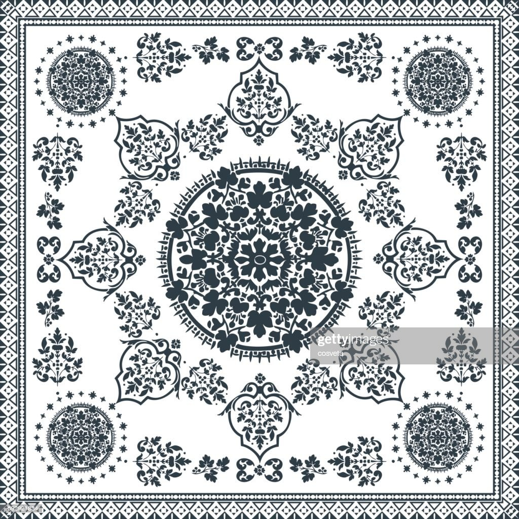 Victorian floral paisley medallion ornamental rug vector. Ethnic mandala towel frame. Vintage flower tile. Black and white. Textile, greeting business card, coloring book, phone case print