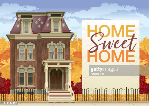 victorian house in autumn with home sweet home text and copy space - home sweet home stock illustrations