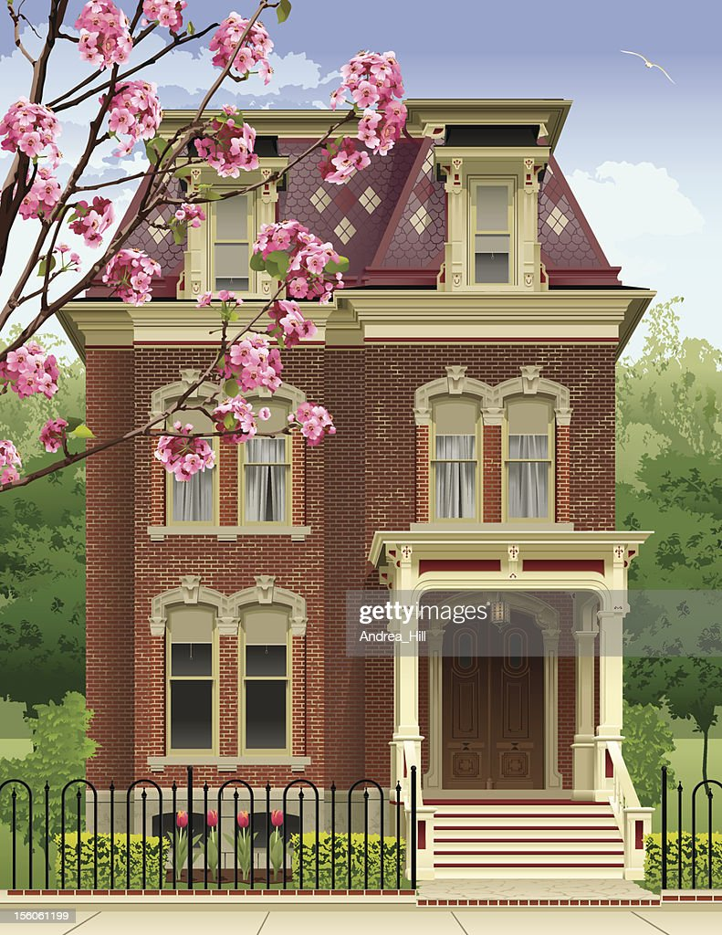 Victorian House in the Spring : stock illustration