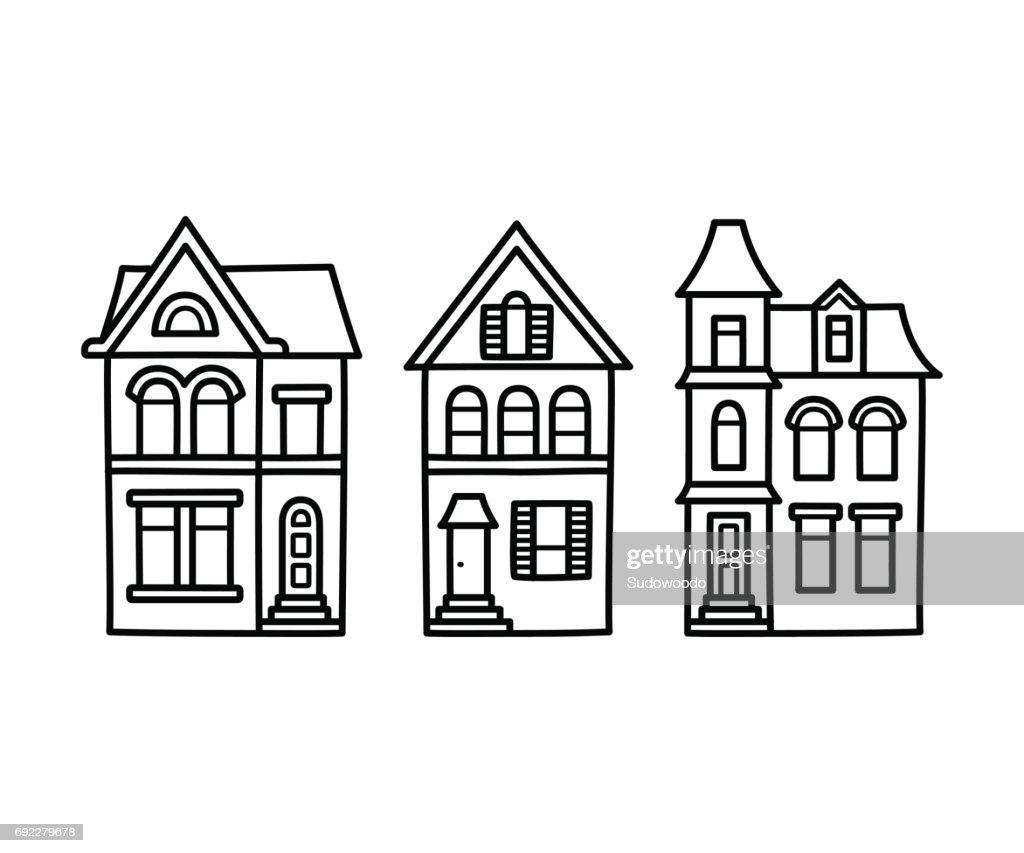 Victorian houses illustration