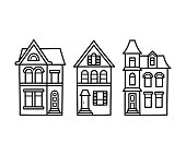 Victorian houses illustration
