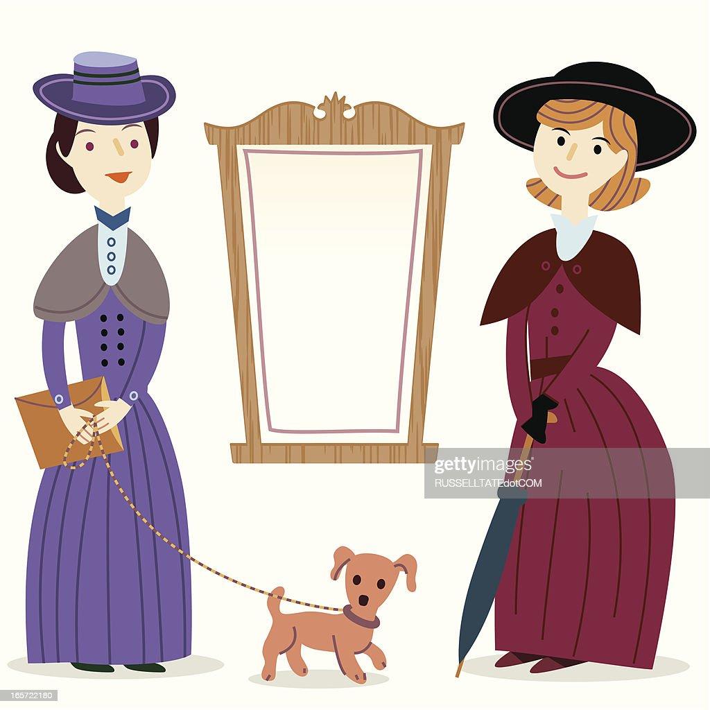 Victorian Ladies by a notice board