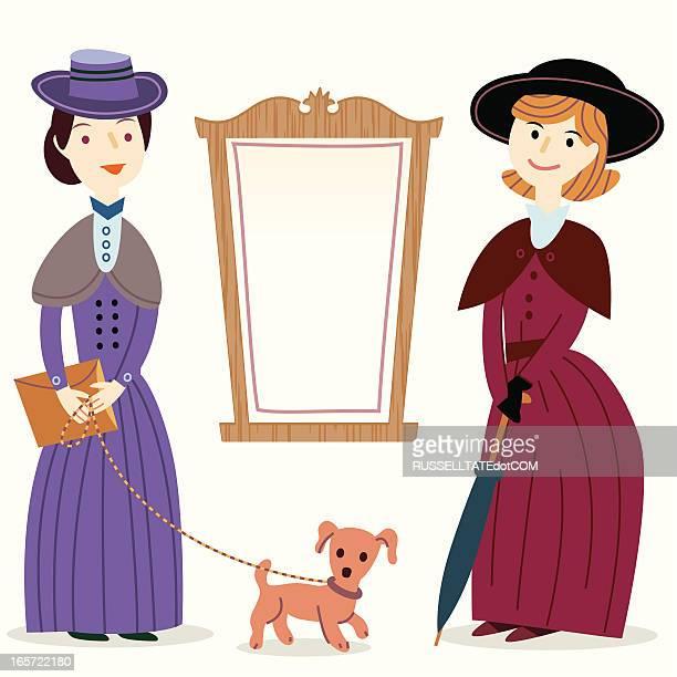 ビクトリア様式の女性に、通知ボード - エドワード様式点のイラスト素材/クリップアート素材/マンガ素材/アイコン素材