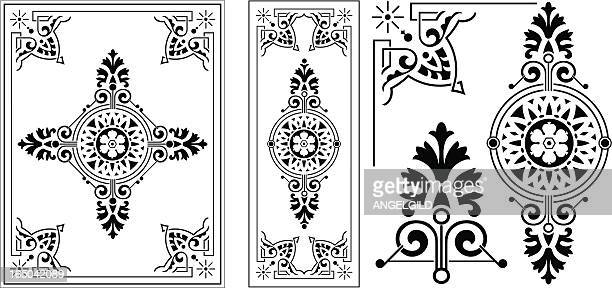 victorian ornate panel - art nouveau stock illustrations, clip art, cartoons, & icons