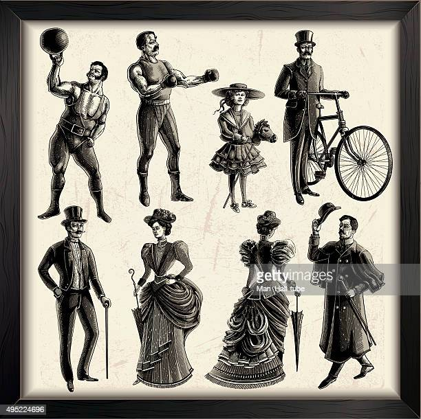 victorian people - weight training stock illustrations