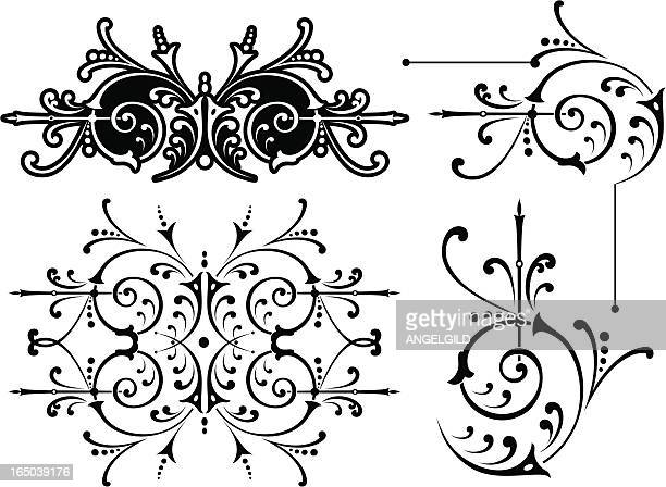 victorian scrolls and corners - architectural feature stock illustrations, clip art, cartoons, & icons