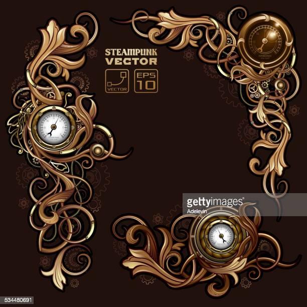 victorian steampunk florals - steampunk stock illustrations