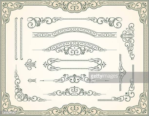 victorian style and scroll set - gothic style stock illustrations, clip art, cartoons, & icons