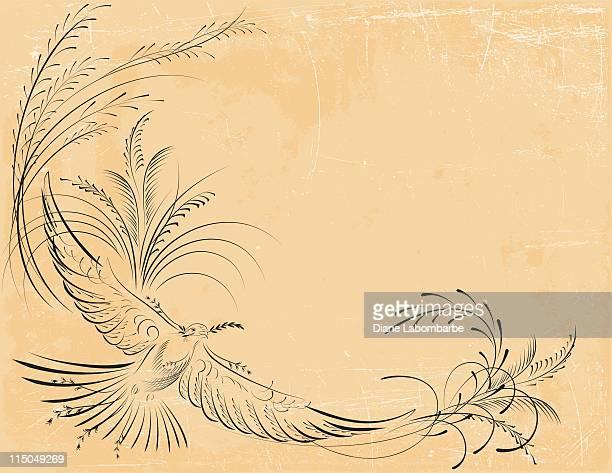 ilustraciones, imágenes clip art, dibujos animados e iconos de stock de estilo victoriano dove con rama de olivo - rama de olivo