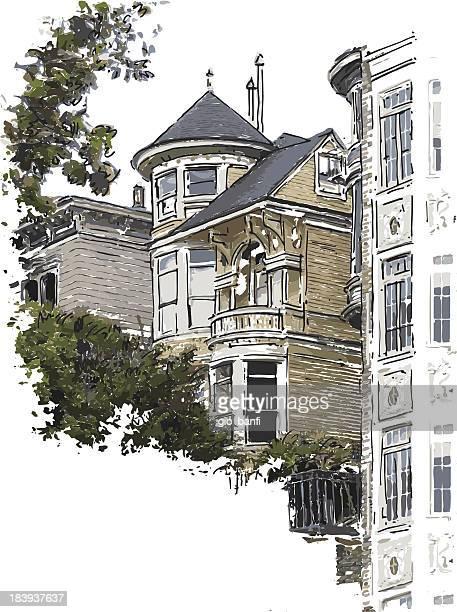 victorian style house - san francisco california stock illustrations