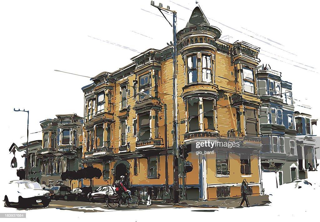 victorian style house : stock illustration