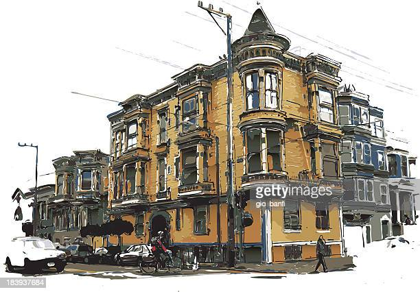 victorian style house - corner of building stock illustrations, clip art, cartoons, & icons