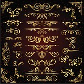 Victorian vector set of golden ornate page decor elements like