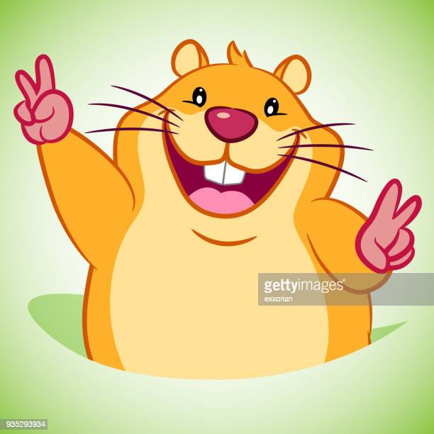 Victory Gesture Groundhog Cartoon Character