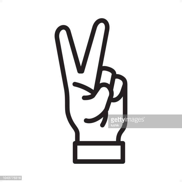 victory hand - outline icon - pixel perfect - peace sign stock illustrations, clip art, cartoons, & icons