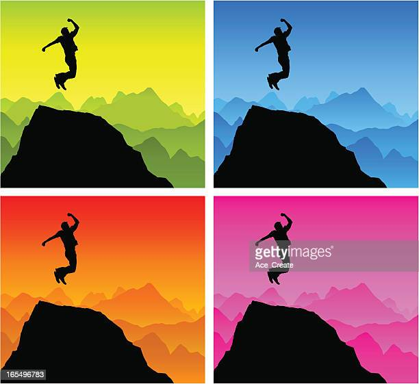 victory jump silhouette on top of the world - glühend stock illustrations