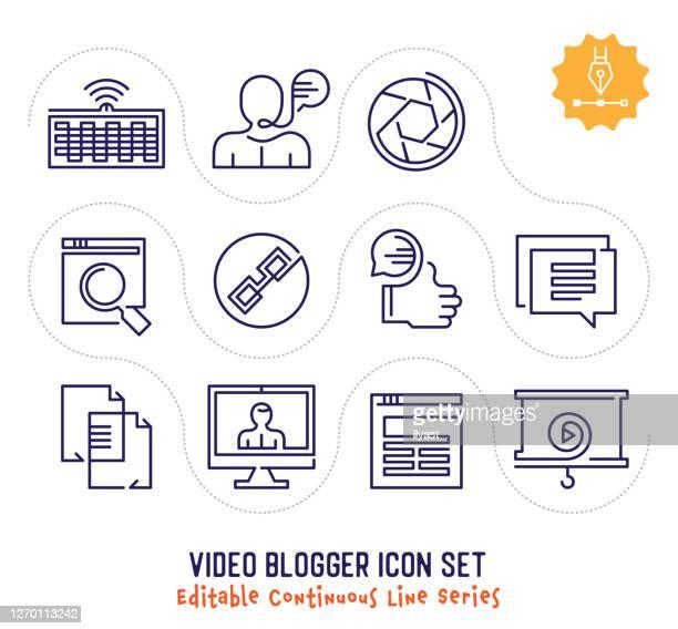 illustrazioni stock, clip art, cartoni animati e icone di tendenza di pacchetto di icone di linea continua modificabile video blogger - continuità