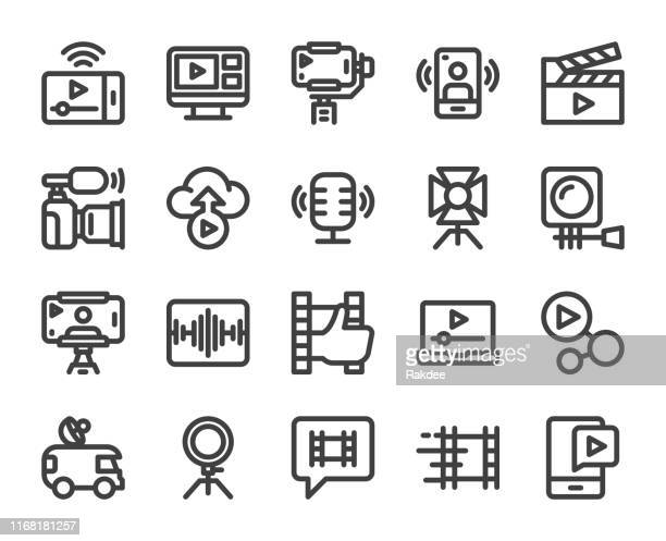 video blogging and live streaming - bold line icons - live event stock illustrations
