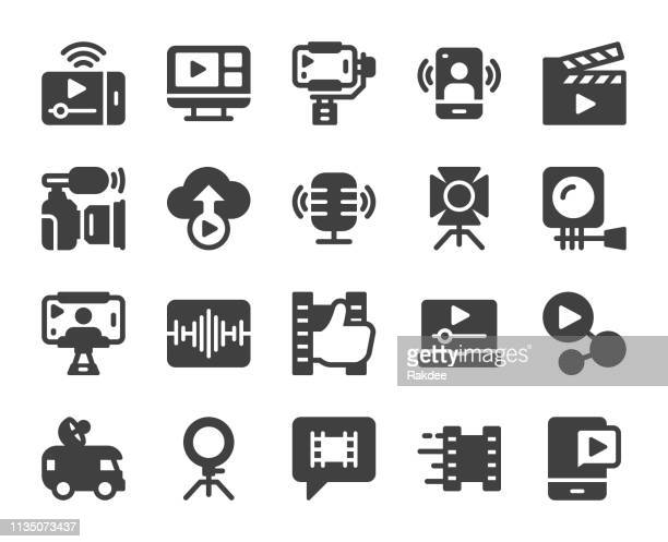 video blogging and live streaming - icons - video still stock illustrations, clip art, cartoons, & icons
