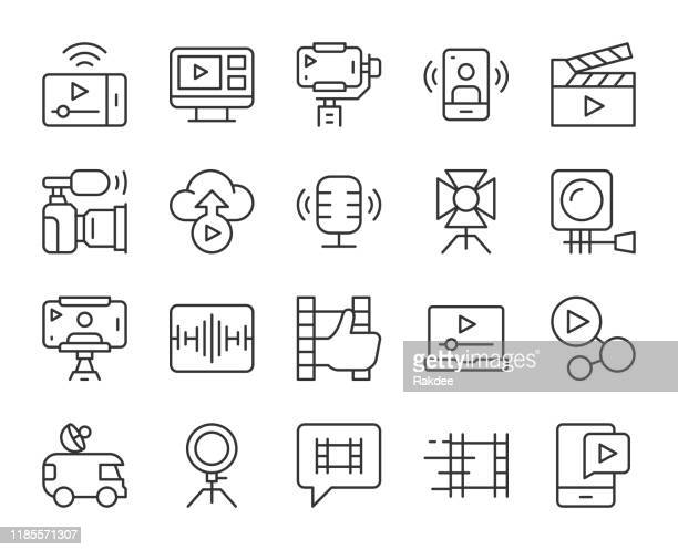 video blogging and live streaming - light line icons - live streaming stock illustrations