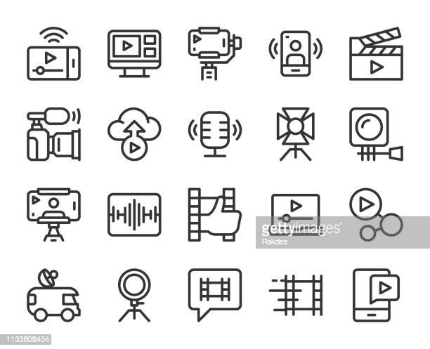 video blogging and live streaming - line icons - audio equipment stock illustrations