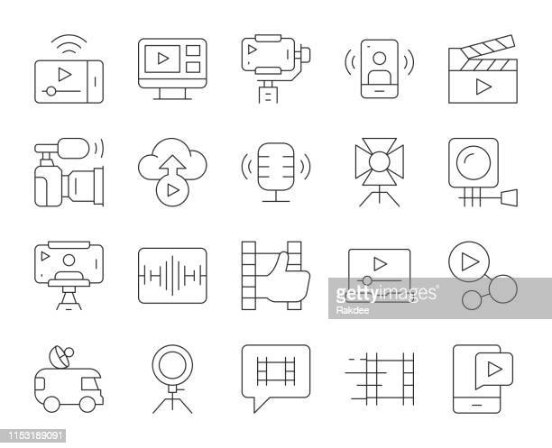 video blogging and live streaming - thin line icons - soundtrack stock illustrations, clip art, cartoons, & icons