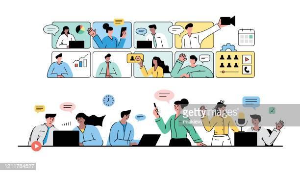 ilustraciones, imágenes clip art, dibujos animados e iconos de stock de videoconferencia de negocios - seminario reunión