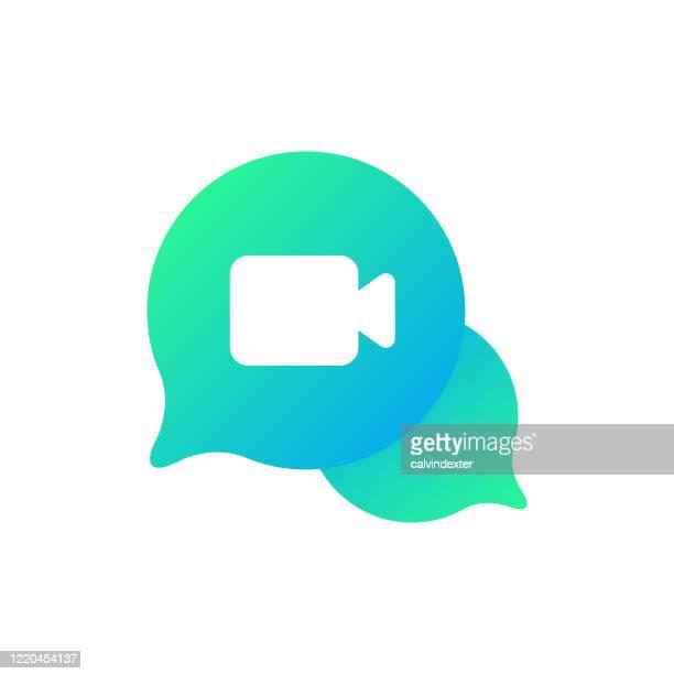 ビデオ通話アイコンのデザイン - 人里離れた点のイラスト素材/クリップアート素材/マンガ素材/アイコン素材