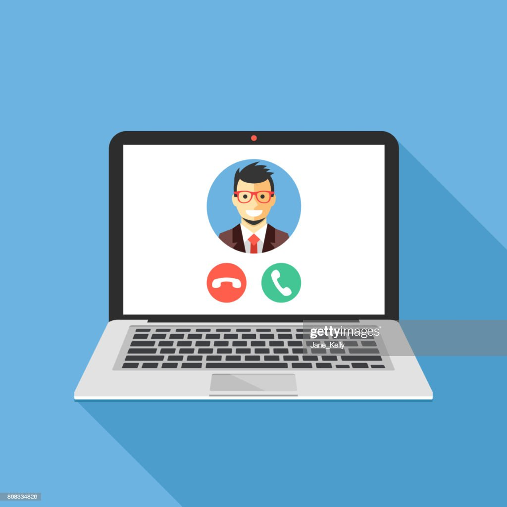 Video call on laptop screen. Laptop with incoming call, man profile picture and accept decline buttons. Modern flat design vector illustration