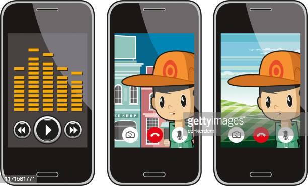 illustrazioni stock, clip art, cartoni animati e icone di tendenza di videochiamata - video chiamata