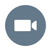 video camera glyph flat circle icon