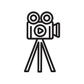 Video camera icon vector sign and symbol isolated on white background, Video camera logo concept