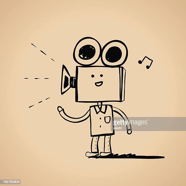 video camera man character - film crew stock illustrations