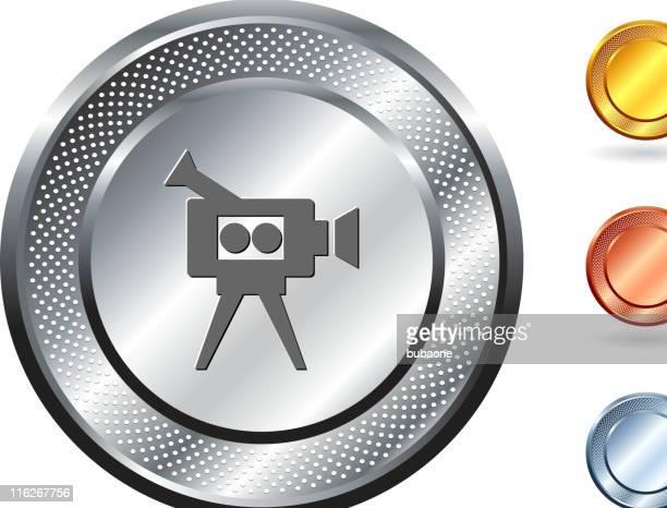 video camera royalty free vector art on metallic button